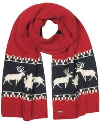 DSquared² - Nordic Deers Burgundy And Navy Blue Wool Blend Knit Scarf - Lyst