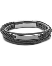 Fossil - Vintage Casual Steel Multi-strand Men's Bracelet - Lyst