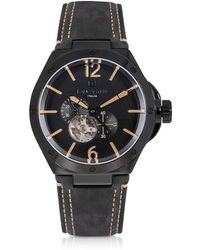 Lancaster - Space Shuttle Meccanico Black Stainless Steel And Nubuck Men's Watch - Lyst