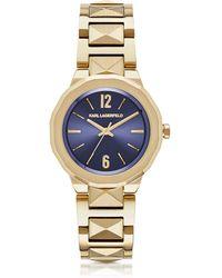 Karl Lagerfeld - Joleigh Gold-tone Stainless Steel Women's Watch - Lyst