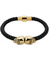Northskull - Black Nappa Leather And 18 Kt. Gold Twin Skull Men's Bracelet - Lyst