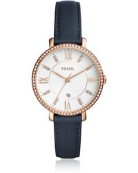 Fossil - Jacqueline Three-hand Crystal Navy Leather Watch - Lyst