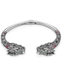 Thomas Sabo - Blackened Sterling Silver Glass-ceramic Stones Synthetic Corundum And Cubic Zirconia Dragon Bangle - Lyst