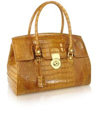 L.A.P.A. - Camel Croco Stamped Genuine Leather Satchel Bag - Lyst