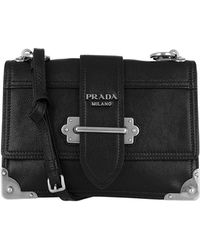 5f3c3f1f4bd1 Prada - Glace Shoulder Bag Calf Leather Black/silver - Lyst
