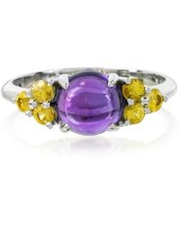 Mia & Beverly | Amethyst And Sapphires 18k White Gold Ring | Lyst