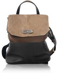 Carven - Full Joy Color Block Suede And Leather Large Backpack/shoulder Bag - Lyst
