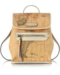 Alviero Martini 1A Classe - Australia Geo Printed Backpack W/cream Ostrich Print Leather Details - Lyst