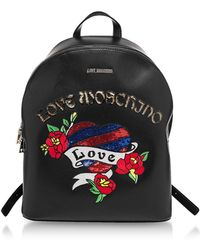 Love Moschino - Black Love Embroidered Backpack - Lyst