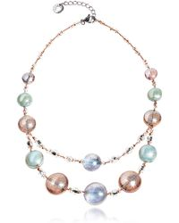 Antica Murrina - Redentore 3 - Pink & Green Murano Glass And Silver Leaf Choker - Lyst