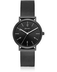 DKNY - Minetta Black Ip Stainless Steel Mesh Women's Watch - Lyst