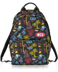 bece4e905b2 McQ - Darkest Black Printed Nylon Classic Backpack - Lyst