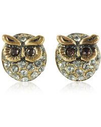 Alcozer & J - Owl Earrings W/crystals - Lyst