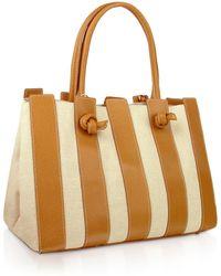 Fontanelli - Canvas & Leather Italian Tote Handbag - Lyst