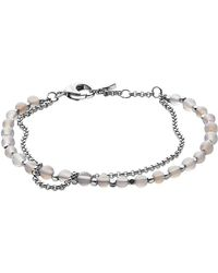 Fossil - Silver Semi-precious Double-chain Women's Bracelet - Lyst