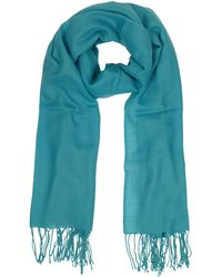 Mila Schon - Turquoise Wool And Cashmere Fringed Stole - Lyst