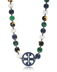 Tory Burch - Malachite And Tory Navy Multi Resin Logo Long Necklace - Lyst