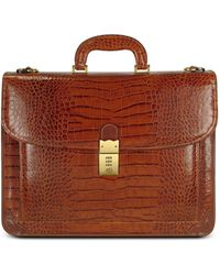 L.A.P.A. - Men's Front Pocket Croco Stamped Italian Leather Briefcase - Lyst