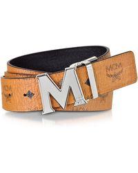 MCM - Cognac Visetos Claus M Reversible Belt W/signature Buckle - Lyst