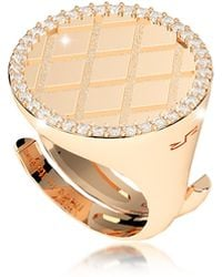 Rebecca - Melrose Yellow Gold Over Bronze Ring W/cubic Zirconia - Lyst