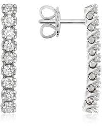 FORZIERI - 0.63 Ctw Nine-stone Drop Diamond 18k Gold Earrings - Lyst