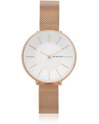Skagen - Karolina Rose Gold-tone Steel-mesh Watch - Lyst