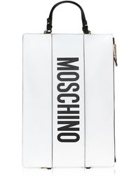 Moschino - White Leather Flat Backpack - Lyst