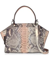 Ghibli - Pearl Gray And Pale Pink Python Leather Top Handle Satchel Bag - Lyst