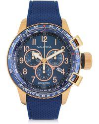 Nautica Reloj para Hombre de Acero Inoxidable Dorado y Correa de Goma Azul