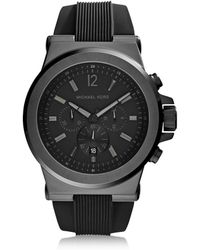 a21d2c0ad3f5 Michael Kors - Dylan Black Stainless Steel Oversized Men s Chrono Watch -  Lyst