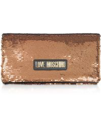 Love Moschino Rose Gold Sequins Clutch W/ Chain Straps - Metallic