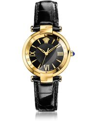 Versace - Revive 3h Black And Pvd Gold Plated Women's Watch W/croco Embssed Band - Lyst