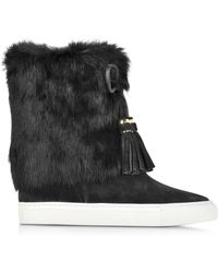 Tory Burch - Anjelica Suede and Rabbit-Fur Boots - Lyst