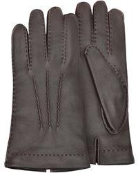 FORZIERI Herren-Handschuhe aus Hirschleder mit Kaschmirfutter - Braun