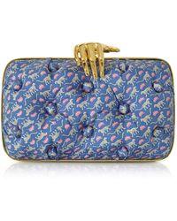 Benedetta Bruzziches - Leopards Printed Blue Satin Silk Carmen Clutch W/ Golden Hand - Lyst