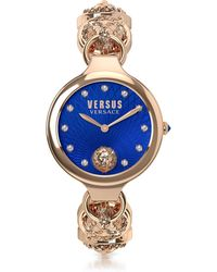 Versus - Broadwood Rose Gold Tone Stainless Steel Women's Bracelet Watch W/blue Dial And Crystals - Lyst