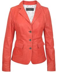 FORZIERI - Three-button Red Leather Jacket - Lyst