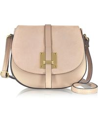 Le Parmentier - Pollia Nude Leather And Suede Crossbody Bag - Lyst