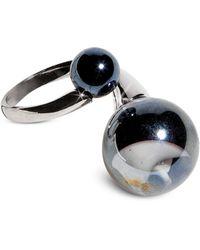 Antica Murrina - Optical - Silver Stainless Steel Ring W/black Murano Glass Beads - Lyst