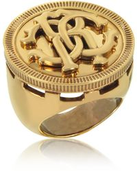 Roberto Cavalli - Antique Goldtone Metal Large Logo Coin Ring - Lyst