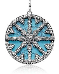 Thomas Sabo - Blackened Sterling Silver Pendant W/synthetic Turquoise And Cubic Zirconia - Lyst