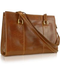Chiarugi - Handmade Brown Genuine Italian Leather Zip Satchel Bag - Lyst