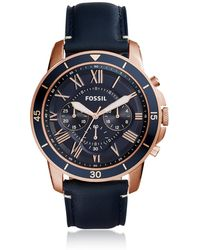 Fossil - Grant Sport Chronograph Blue Leather Men's Watch - Lyst
