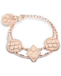 Rebecca - Melrose Rose Gold Over Bronze Bracelet W/geometric Charms - Lyst