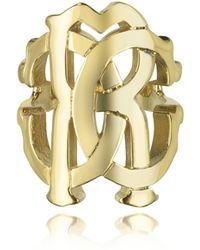 Roberto Cavalli - Rc Lux Gold Tone Ring - Lyst