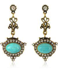 Alcozer & J - Magnesite Goldtone Brass Earrings W/crystals - Lyst