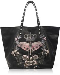 RED Valentino - Black Printed Leather Tote Bag W/studs - Lyst