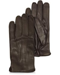 Moreschi - Canada Dark Brown Leather Men's Gloves W/cashmere Lining - Lyst