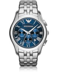Emporio Armani - New Valente Silver Tone Stainless Steel Men's Watch - Lyst