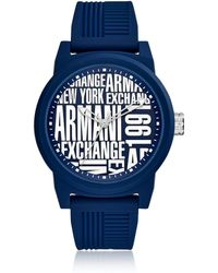 Armani Exchange - Atlc Blue Silicone Men's Watch - Lyst